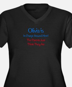 Olivia Is In Charge Women's Plus Size V-Neck Dark