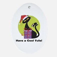 Cool Yule Kitty Oval Ornament