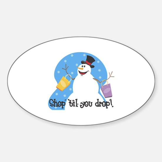 Shopping Snowman Oval Decal