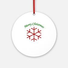 Merry Christmas Snowflake Ornament (Round)