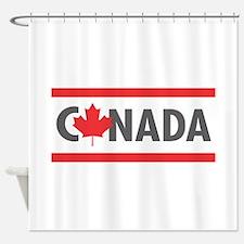 CANADA - Red Design Shower Curtain