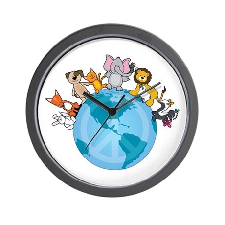 Peace on Earth Animals Wall Clock