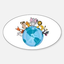 Peace on Earth Animals Oval Decal