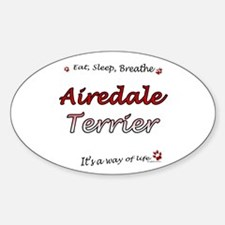 Airedale Breathe Oval Decal
