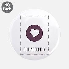 """I Love Philadelphia 3.5"""" Button (10 pack)"""