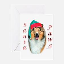 Santa Paws Rough Collie Greeting Card