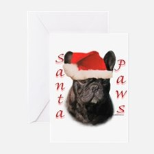 Santa Paws black French Bulldog Greeting Cards (Pk