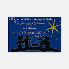 Luke 2:11 Nativity Sillhouette Rectangle Magnet