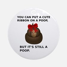 Hillary Poop Round Ornament