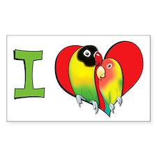 I heart lovebirds Rectangle Decal