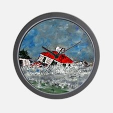 Lighthouse In Storm Wall Clock