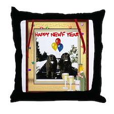 Newf Year Pilot & Sophie Throw Pillow