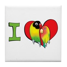 I heart lovebirds Tile Coaster