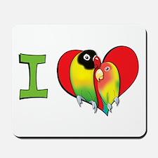 I heart lovebirds Mousepad