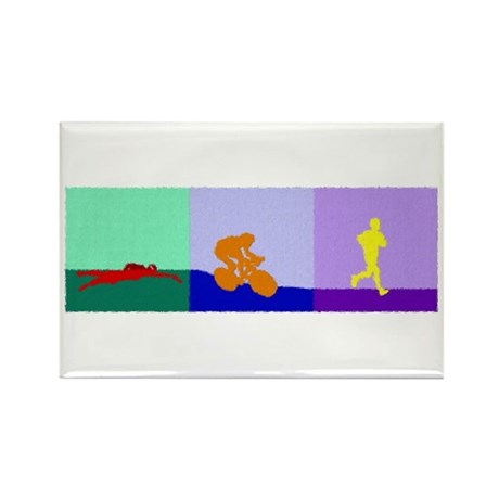 TRIATHLON TRIPTYCH PAINTING LIGHT Rectangle Magnet