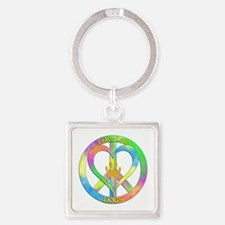 Peace Love Dogs Square Keychain
