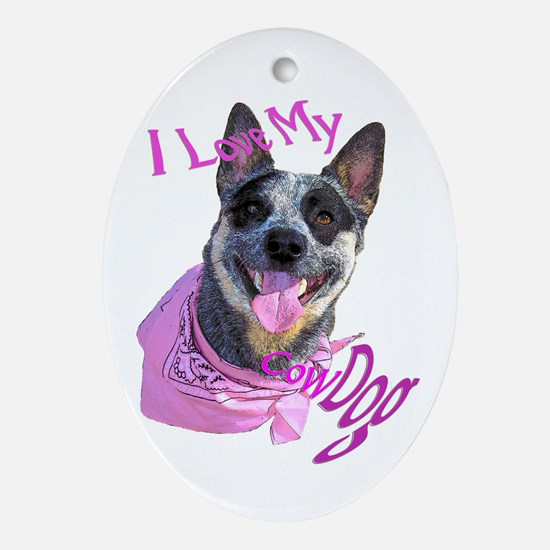 """CowDog's"" Ornament (Oval)"