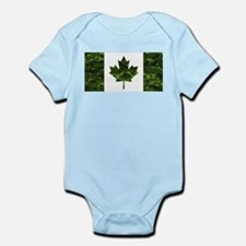 Canadian Flag with Green Camo Background Body Suit