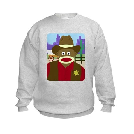Sock Monkey Cowboy Sheriff Kids Sweatshirt