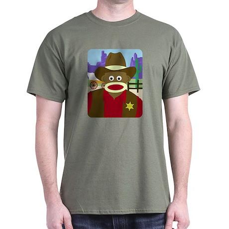 Sock Monkey Cowboy Sheriff Dark T-Shirt