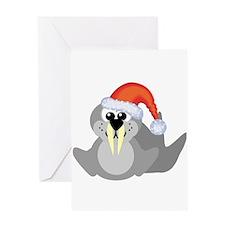 Cute Walrus Santa Claus Greeting Card