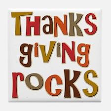 Thanksgiving Rocks Tile Coaster