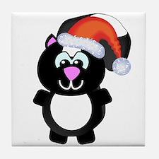 Cute Skunk Santa Claus Tile Coaster