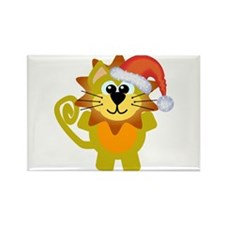 Cute Christmas Lion Santa Rectangle Magnet