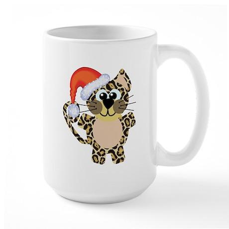 Cute Christmas Leopard Santa Large Mug