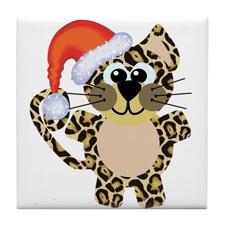 Cute Christmas Leopard Santa Tile Coaster
