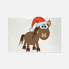 Cute Christmas Santa Pony/Horse Rectangle Magnet (