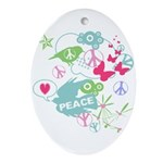 Modern Art Peace Collage Oval Ornament