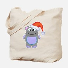 Cute Chrismas Hippo Santa Tote Bag