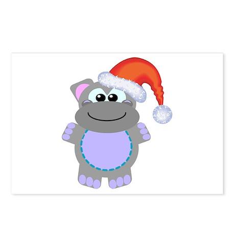 Cute Chrismas Hippo Santa Postcards (Package of 8)