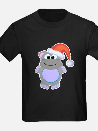 Cute Chrismas Hippo Santa T