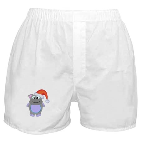 Cute Chrismas Hippo Santa Boxer Shorts