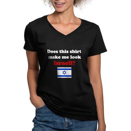 Make Me Look Israeli Women's V-Neck Dark T-Shirt