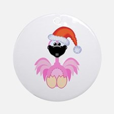 Cute Christmas Santa Flamingo Ornament (Round)