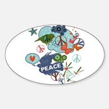 Modern Art Peace Collage Oval Decal