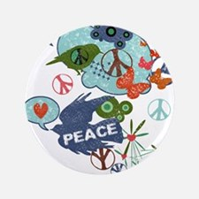 "Modern Art Peace Collage 3.5"" Button"