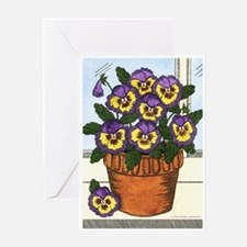 Potted Pansy Greeting Card