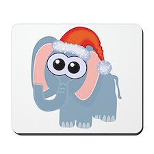 Cute Christmas Elephant Santa Mousepad