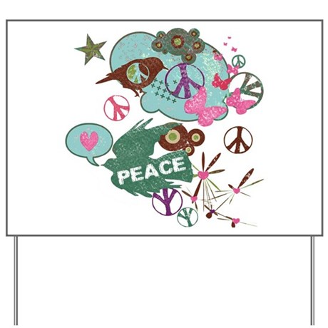 Vintage PEACE Art Collage Yard Sign