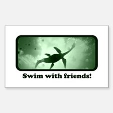 Swim with Friends - Loch Ness Sticker (Rectangular