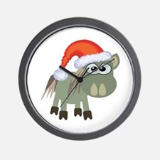 Cute Christmas Donkey Santa Wall Clock