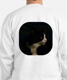 Pensive B&W Maine Coon Cat Sweatshirt
