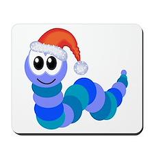 Cute Christmas Caterpillar Santa Mousepad