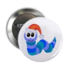"""Cute Christmas Caterpillar Santa 2.25"""" Button (10"""