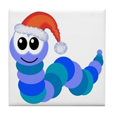 Cute Christmas Caterpillar Santa Tile Coaster