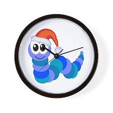 Cute Christmas Caterpillar Santa Wall Clock